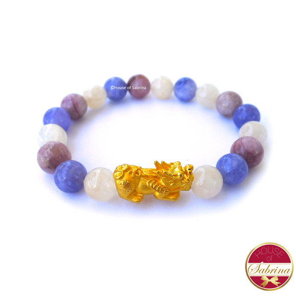 24K Gold Small Pi Yao in Moontsone, Angelite and Kunzite Bracelet