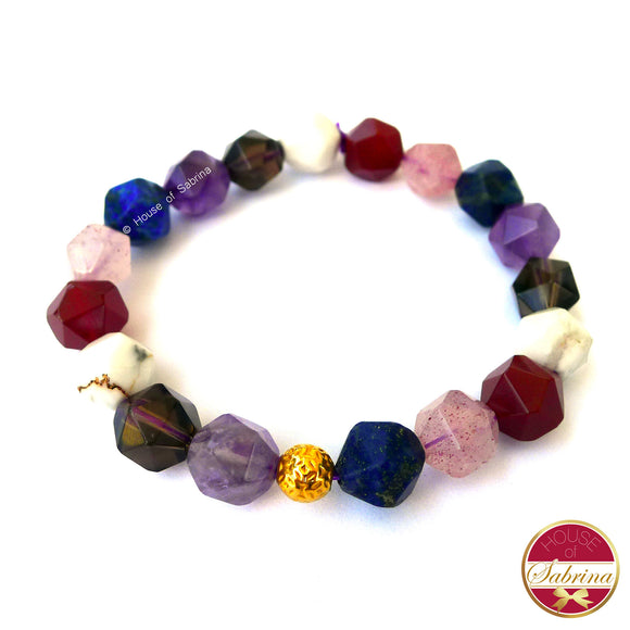 24K Gold Lucky Coin in Geometric Multi-Gemstone Bracelet