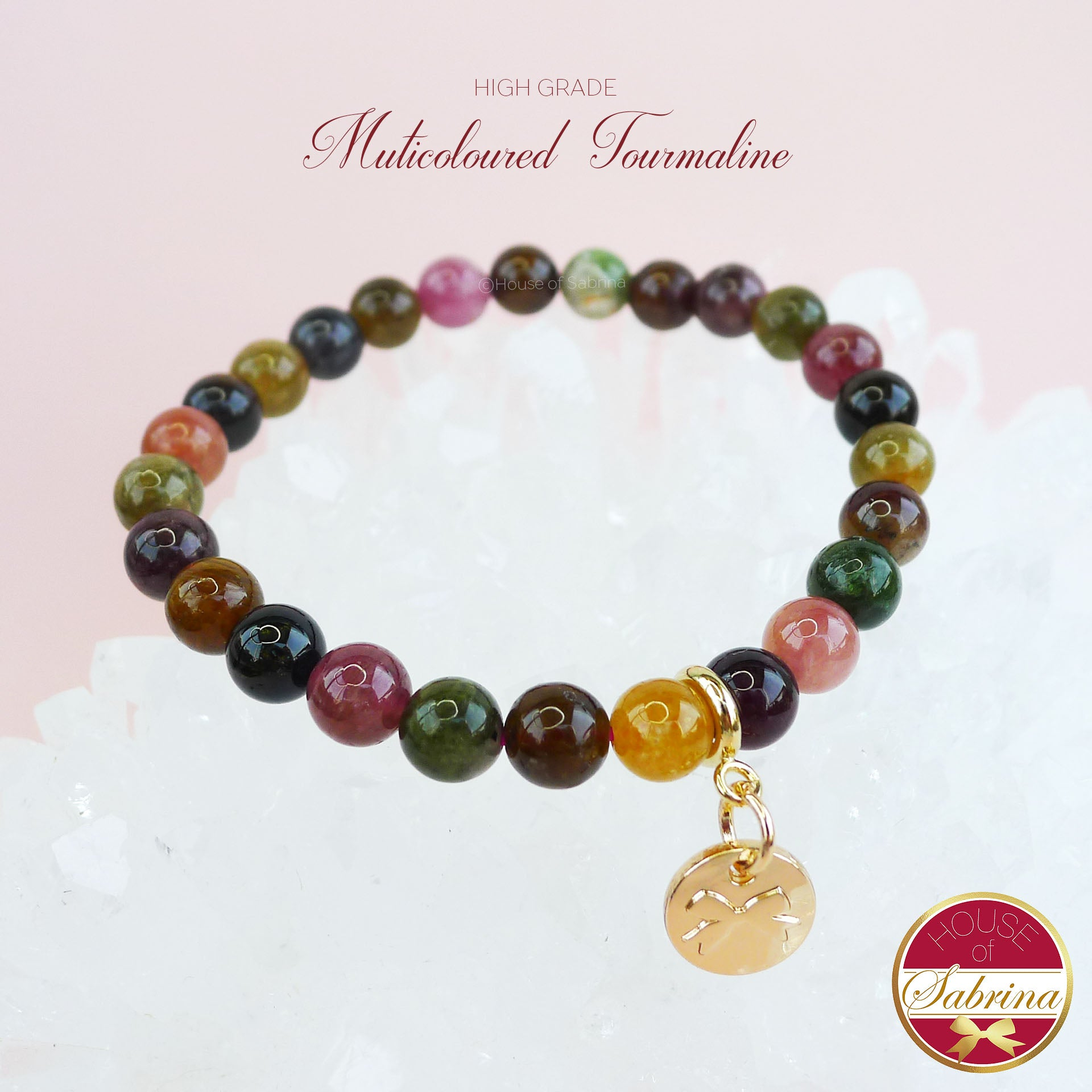 High-Grade Multicoloured  Tourmaline Gemstone Bracelet