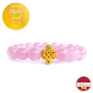 24K Gold Mystic Knot on High Grade Madagascan Rose Quartz Gemstone Bracelet