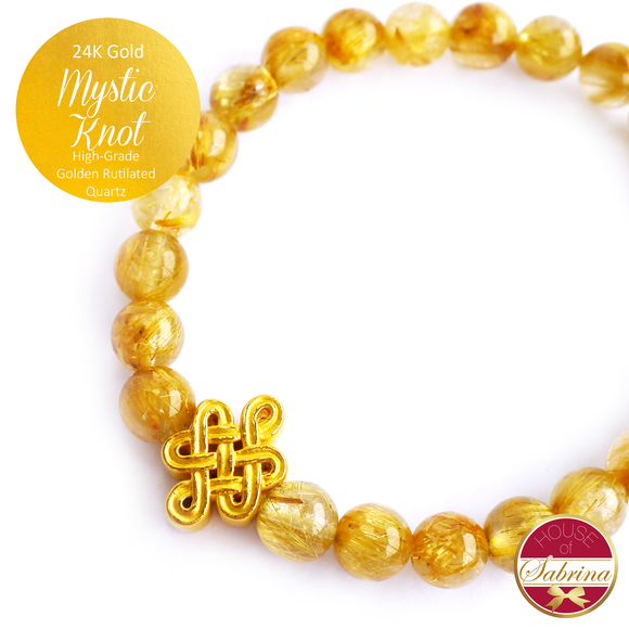 24K Gold Mystic Knot on High Grade Golden Rutilated Gemstone Bracelet