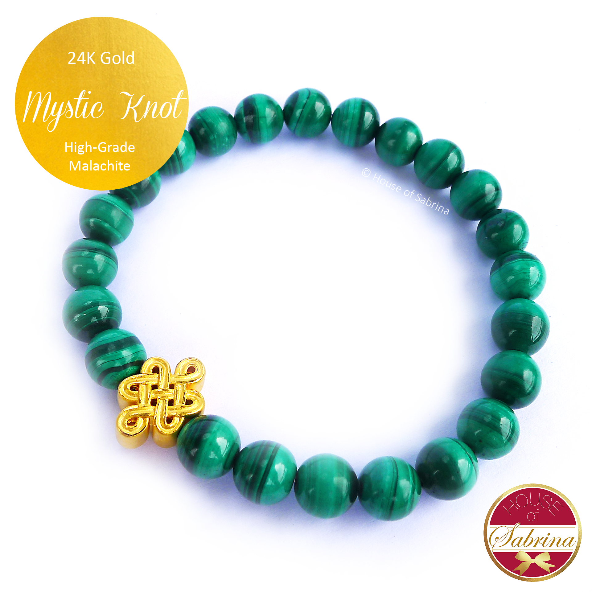 24K Gold Mystic Knot on High Grade Malachite Gemstone Bracelet