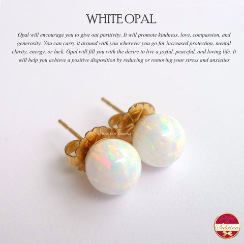 WHITE OPAL STUD EARRINGS