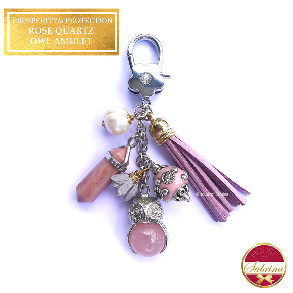 Prosperity & Protection Rose Quartz Owl Amulet