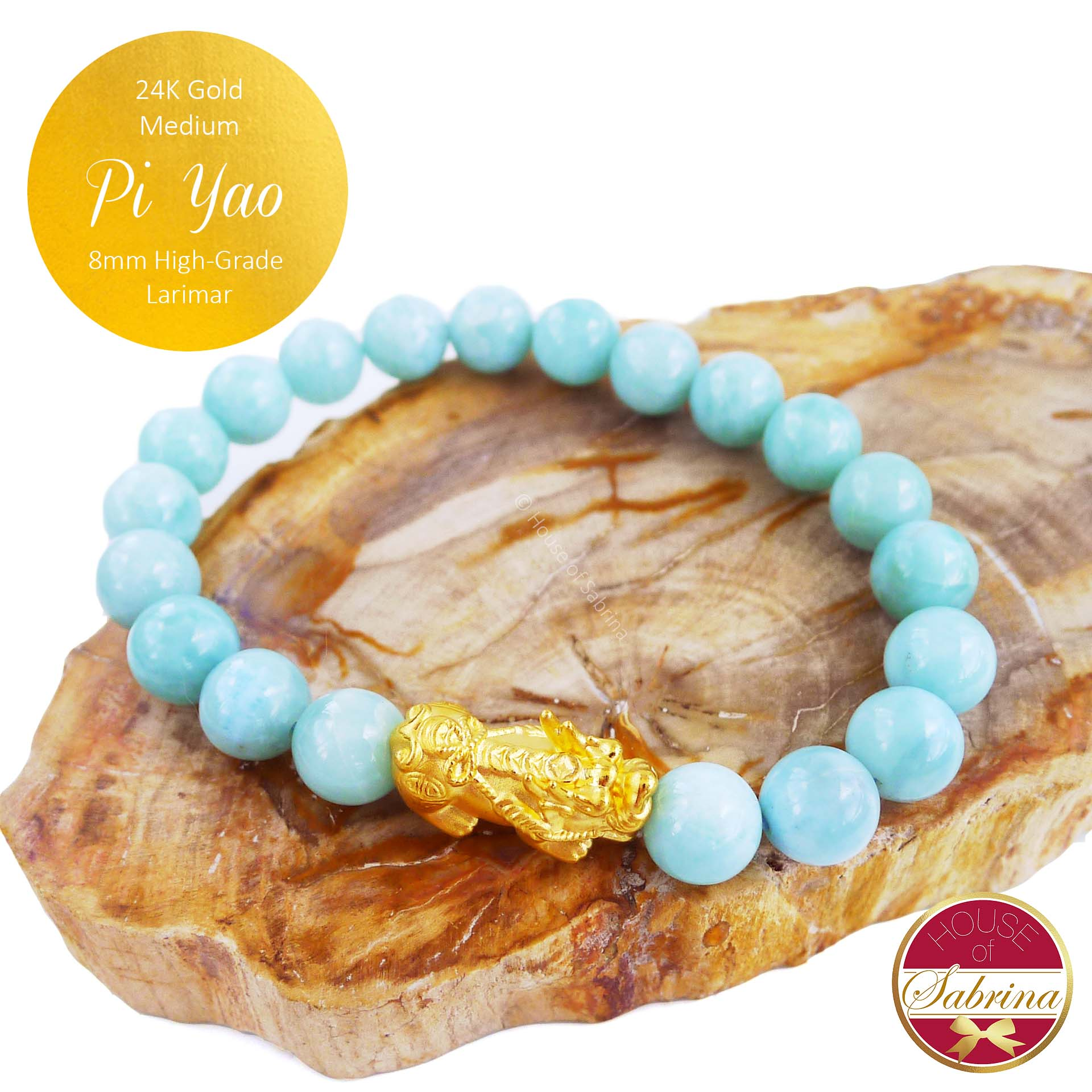 24K Gold Medium Pi Yao on High Grade Larimar Gemstone Bracelet