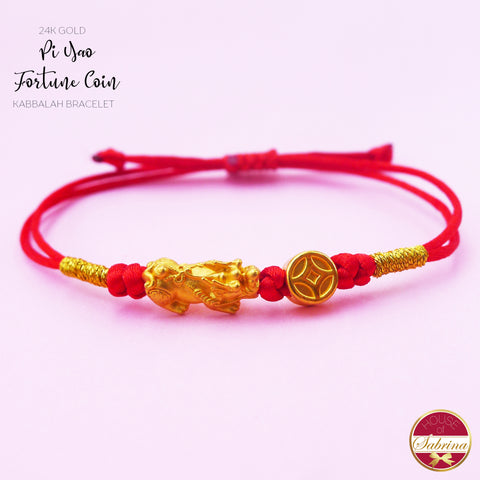 24K GOLD MINI PI YAO with CHINES FORTUNE COIN RED CORD BRACELET