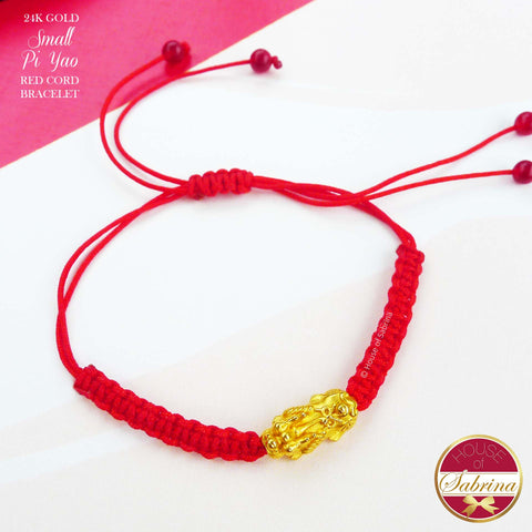 24K GOLD SMALL PI YAO RED CORD LUCKY CHARM BRACELET