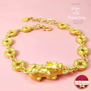 24K GOLD PI YAO WITH FORTUNE COINS PURE GOLD LUCKY CHARM BRACELET