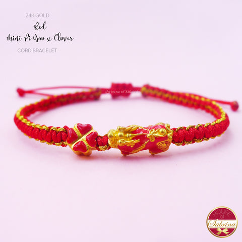 24K GOLD RED MINI PI YAO with CLOVER RED CORD BRACELET