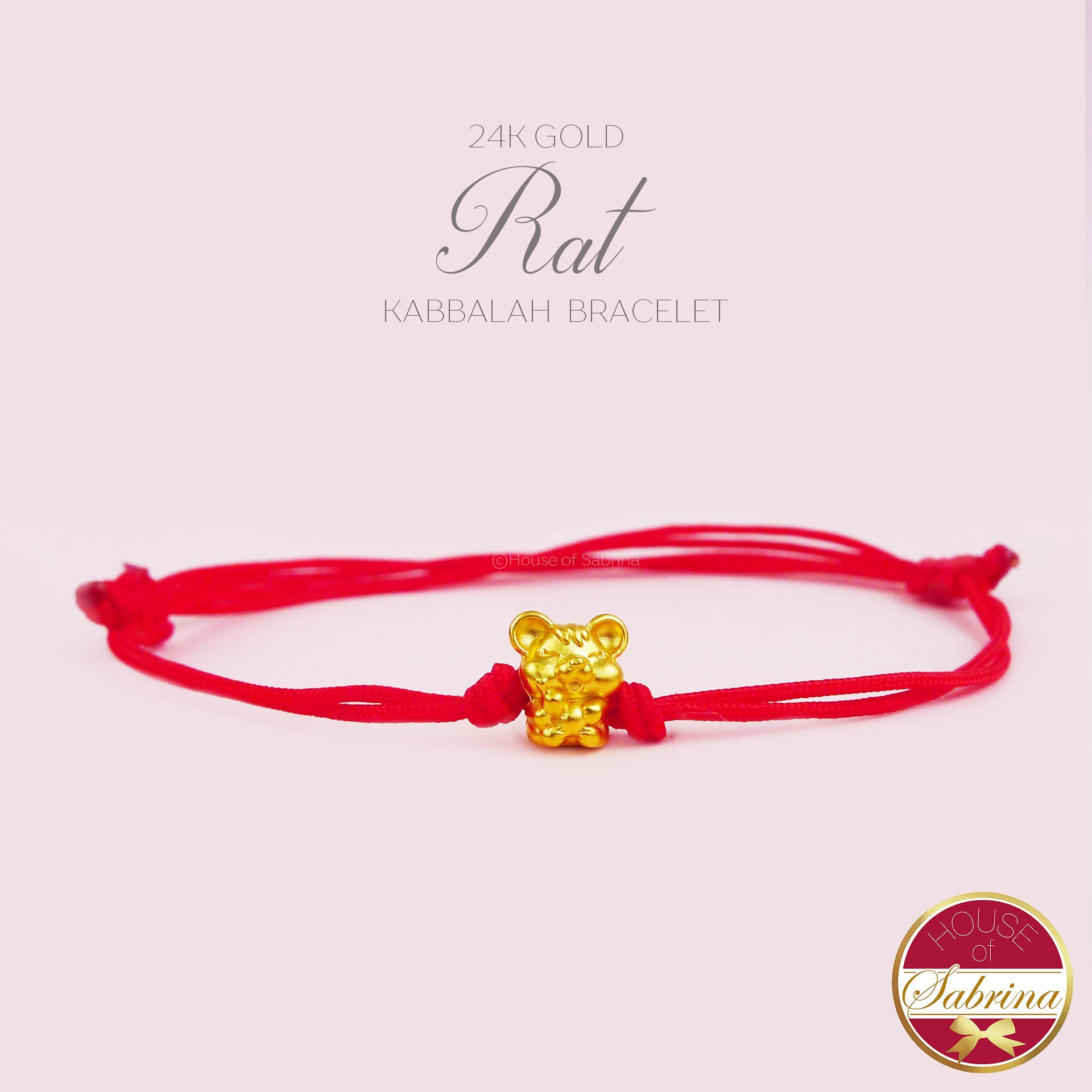 24K GOLD RAT KABBALAH RED STRING BRACELET