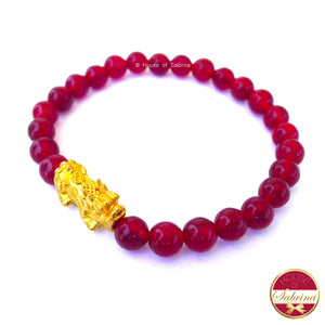 24K Gold Medium Pi Yao Charm in Red Carnelian Bracelet