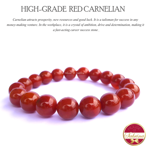High-Grade Red Carnelian Gemstone Bracelet (10mm)