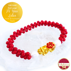 24K Gold Red Pi Yao Lotus (Large) on Coral Gemstone Bracelet