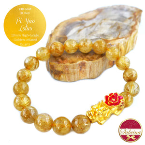 24K Gold Extra Large Red Lotus Pi Yao on High Grade Golden Rutilated Quartz