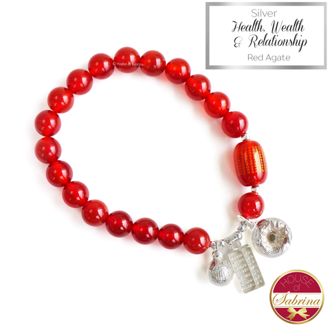 Silver Health Wealth and Relationship Charm on Red Agate Gemstone Bracelet