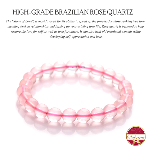 High-Grade Brazilian Rose Quartz Gemstone Bracelet (8mm)