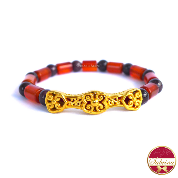 24K Gold Ru Yi in Garnet and Carnelian