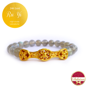 24K Gold Ru Yi on High Grade Labradorite Gemstone Bracelet