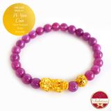 24K Gold Medium Pi Yao with Coin on 7mm Natural Ruby Gemstone Bracelet