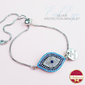 SILVER EVIL EYE PROTECTION BRACELET