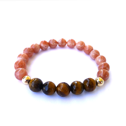 Tiger Eye & Peach Moonstone Power Gemstone Bracelet