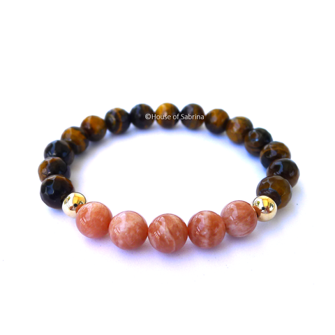 Peach Moonstone & Tiger Eye Power Gemstone Bracelet