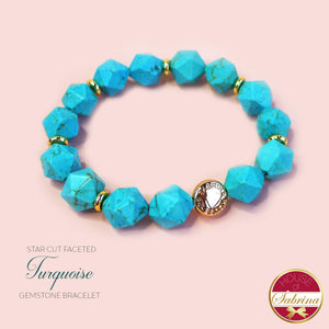 Star Cut Faceted Turquoise Gemstone Bracelet