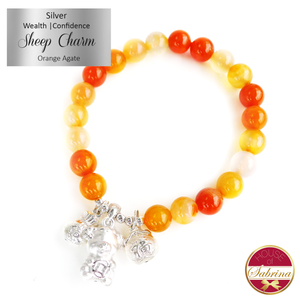 Silver Wealth and Confidence Charm for Sheep on Orange Agate Gemstone Bracelet