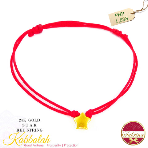 24K GOLD STAR KABBALAH STRING RED CORD BRACELET