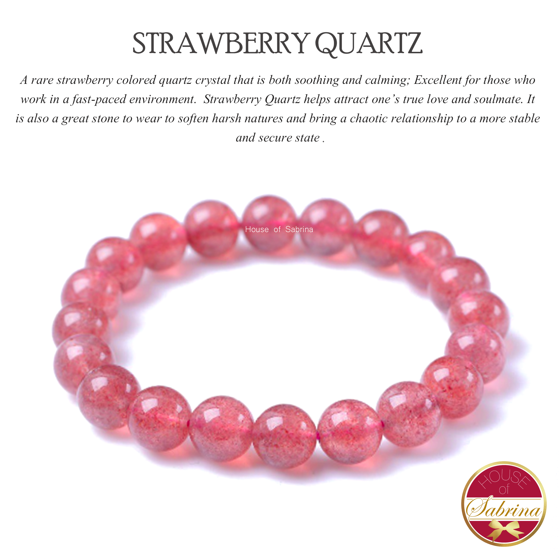 High-Grade Strawberry Quartz Gemstone Bracelet (8mm)
