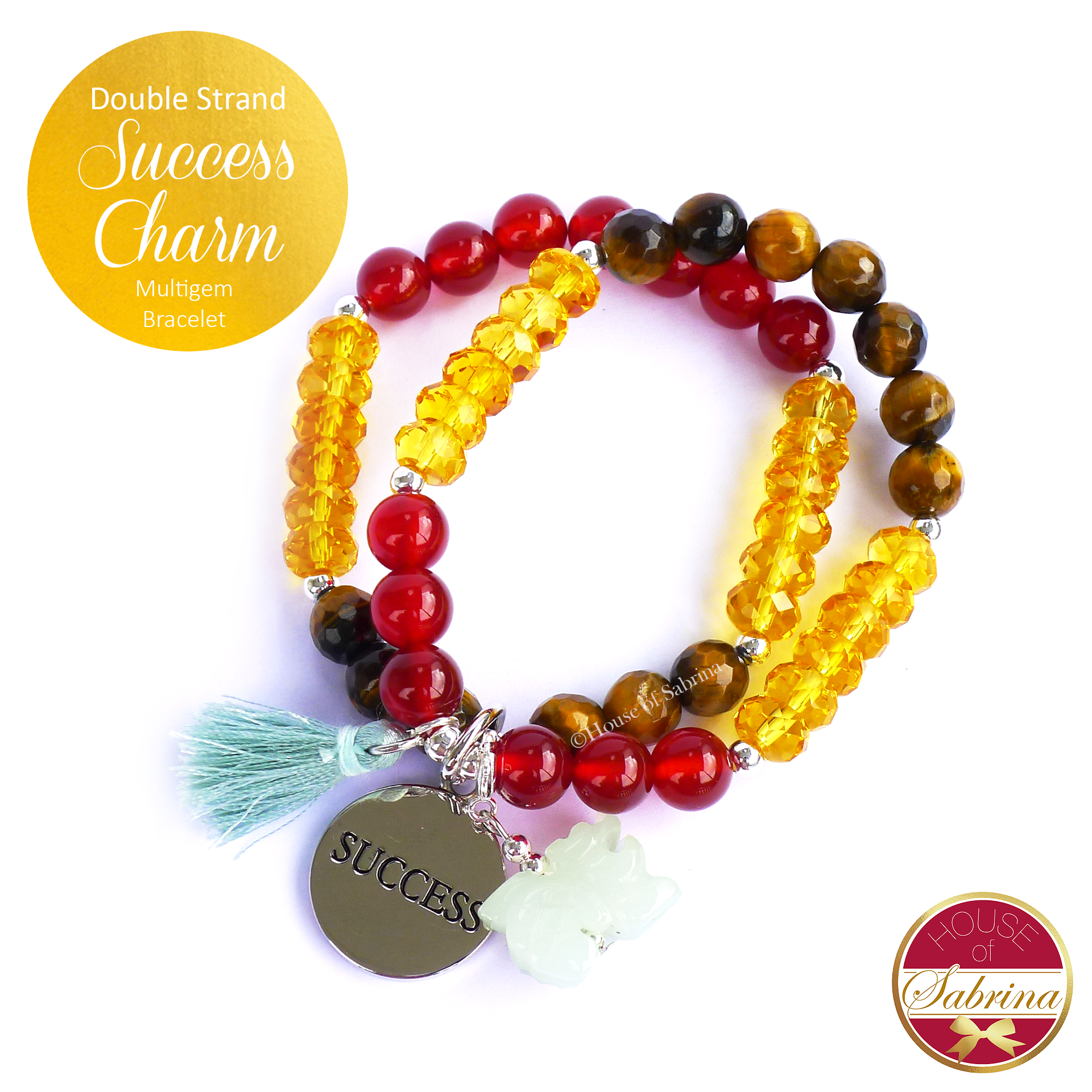 Double Strand Success Tiger Eye Red Agate Citrine Gemstone Lucky Charm Bracelet