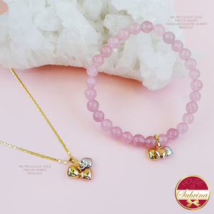 18K TRI COLOURED GOLD TRIO OF HEARTS SET