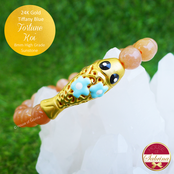 24K Gold Tiffany Blue Fortune Koi on High Grade Sunstone Gemstone Bracelet