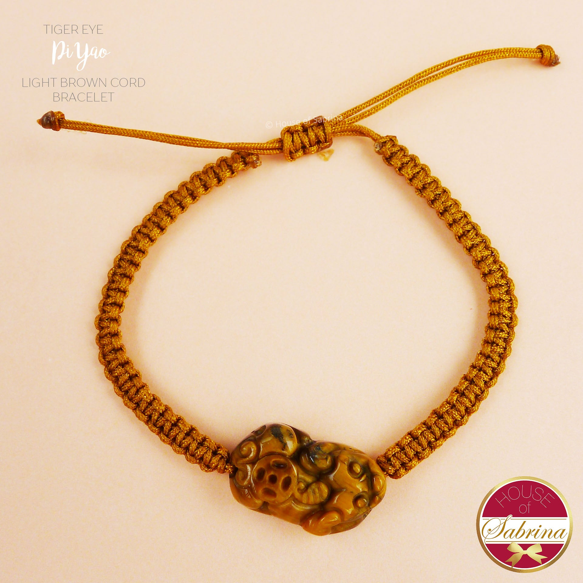 TIGER EYE PI YAO with LIGHT BROWN CORD BRACELET