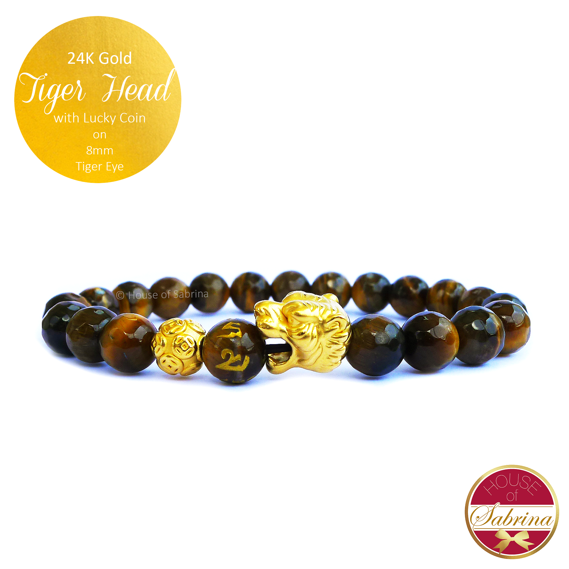 24K Gold Tiger Head with Lucky Coin on 8mm Tiger Eye Gemstone Bracelet