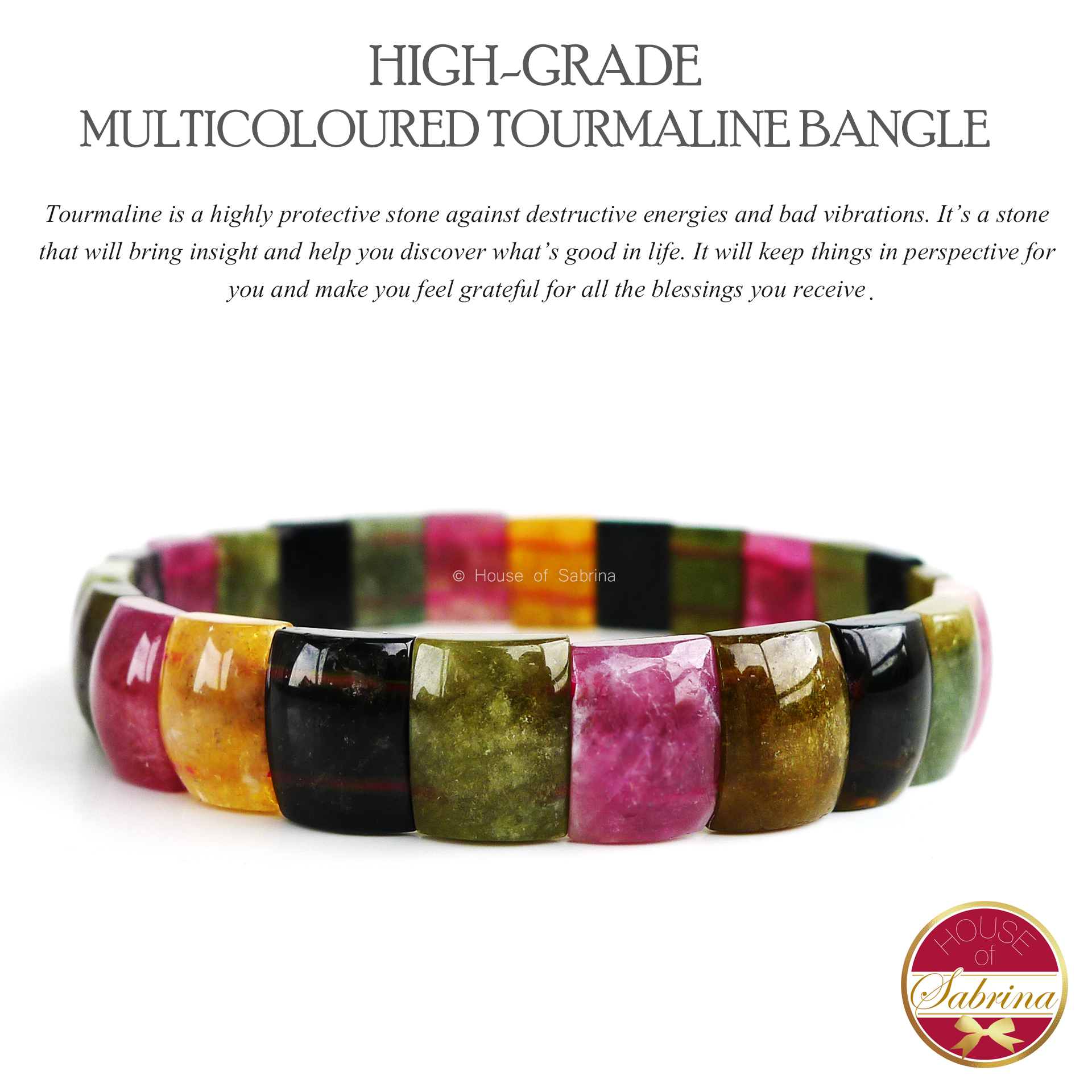 High Grade Multicolored Tourmaline Gemstone Bangle