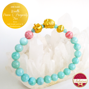 24K Gold Wealth Peace Prosperity Trio Feng Shui Charm on High Grade Larimar Gemstone Bracelet