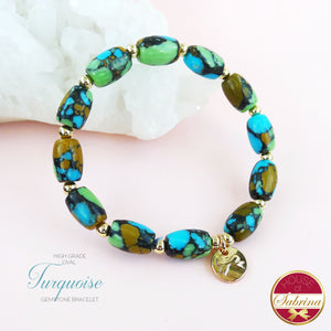 HIGH GRADE OVAL TURQUOISE GEMSTONE BRACELET