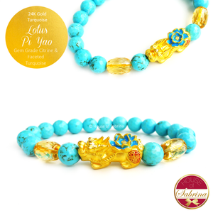 24K Gold Turquoise Pi Yao Lotus with Gem Grade Citrine Accents on Faceted Turquoise Gemstone Bracelet
