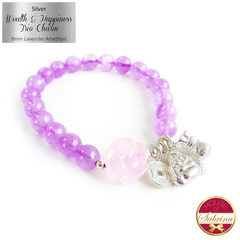 Silver Wealth and Happiness Trio Feng Shui Charm on Lavender Amethyst Gemstone Bracelet