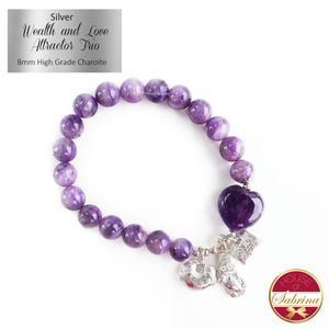 Silver Wealth and Love Attractor Trio on High Grade Charoite Gemstone Bracelet
