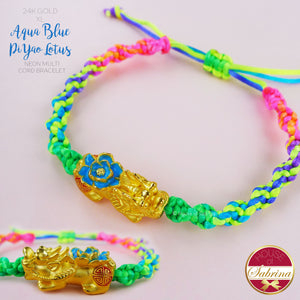 24K GOLD XL AQUA BLUE PI YAO LOTUS ON NEON MULTICOLOURED LUCKY CHARM CORD BRACELET
