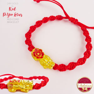 24K GOLD XL RED PI YAO LOTUS ON RED CORD LUCKY CHARM BRACELET