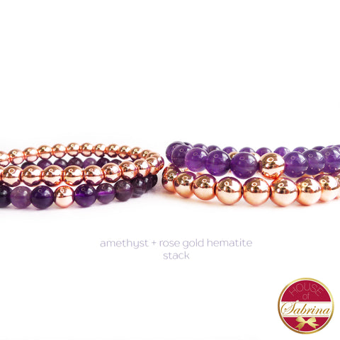 AMETHYST + ROSE GOLD HEMATITE DOUBLE STACK GEMSTONE BRACELET
