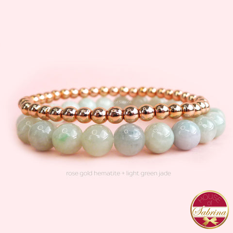 LIGHT GREEN JADE  + ROSE GOLD HEMATITE DOUBLE STACK