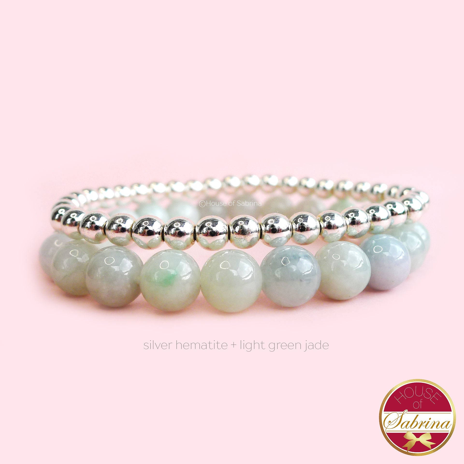 LIGHT GREEN JADE  + SILVER HEMATITE DOUBLE STACK