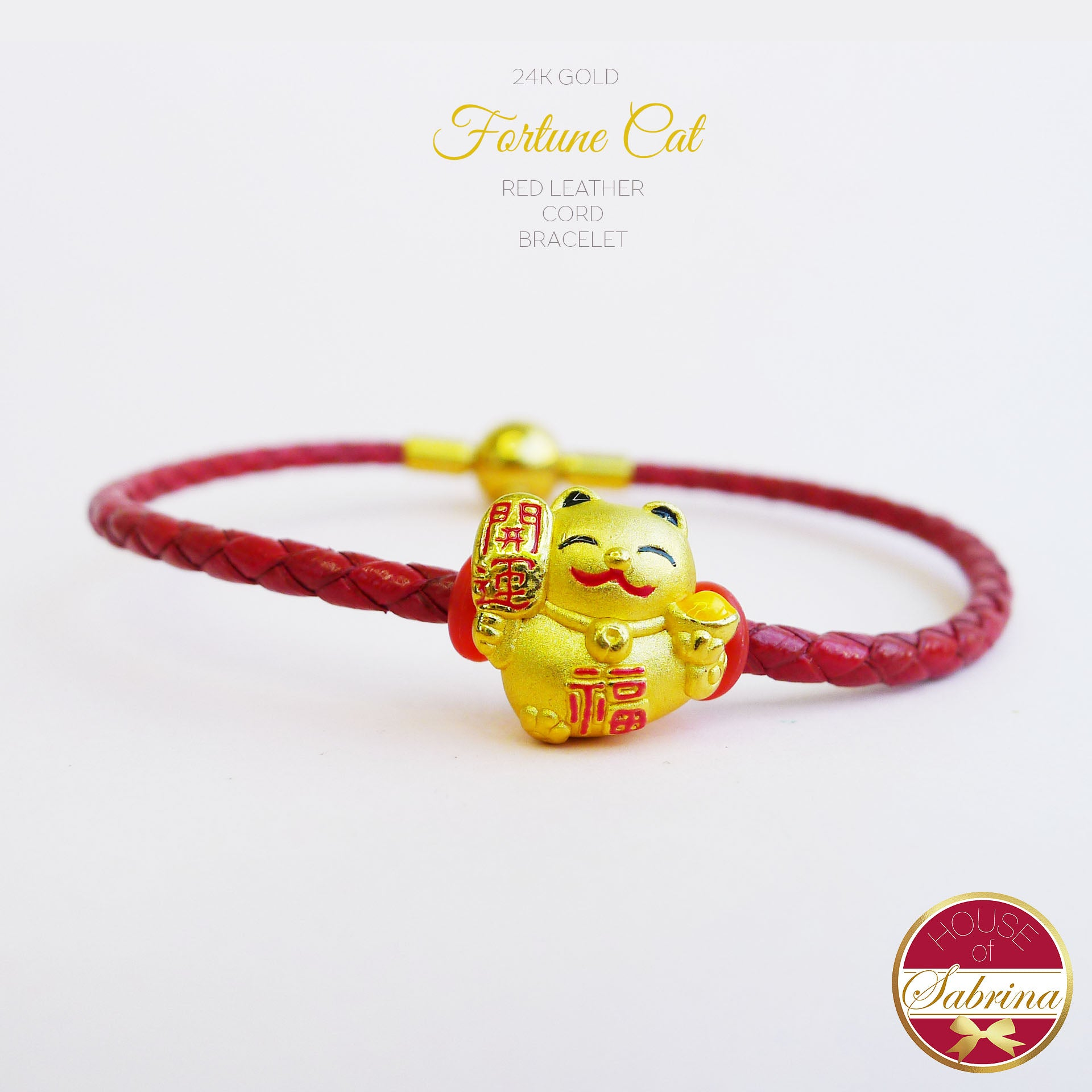 24K GOLD FORTUNE CAT ON RED LEATHER CORD BRACELET