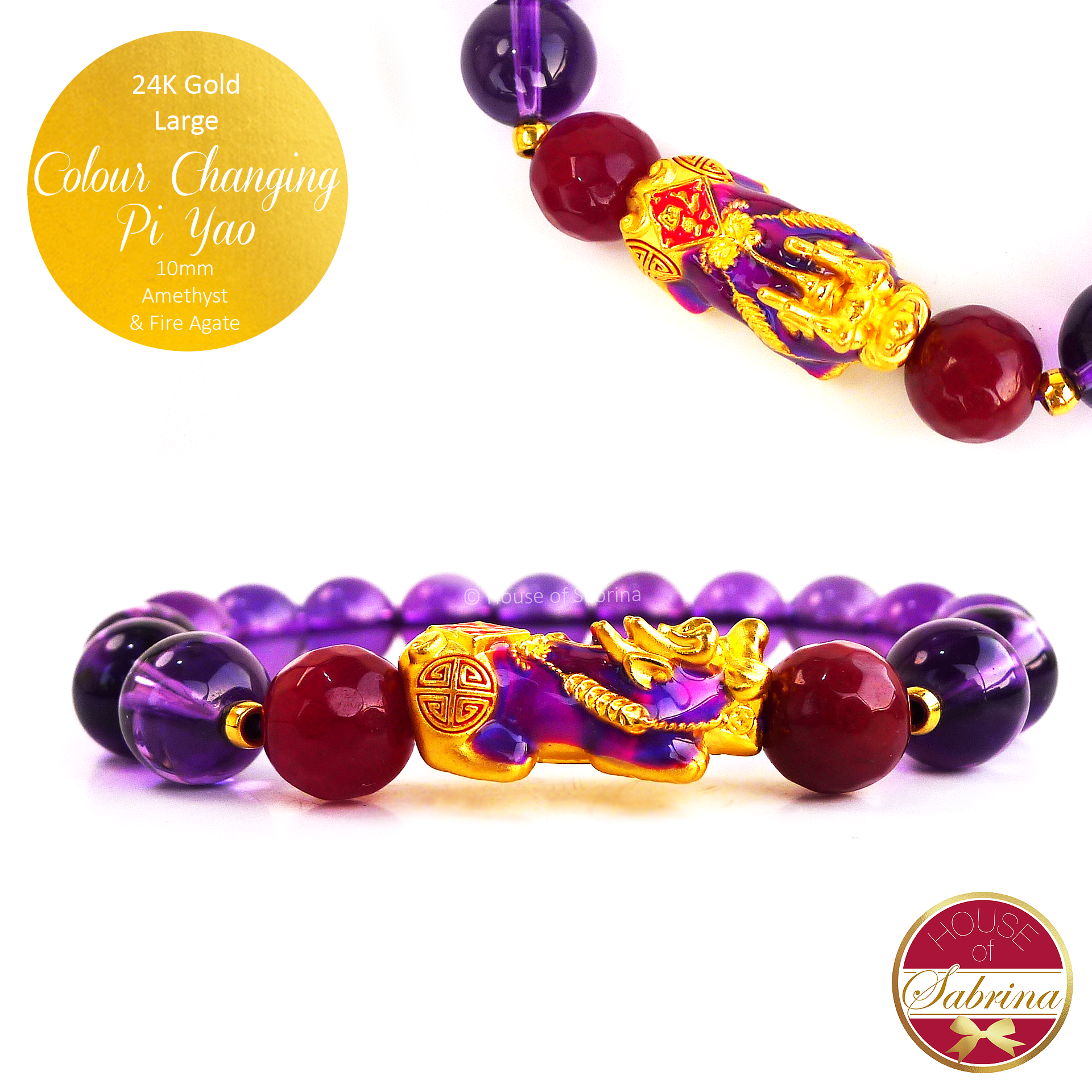 24K Gold Large Colour Changing Pi Yao on High Grade Amethyst and Red Agate Gemstone Bracelet