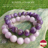 High-Grade Lilac Kunzite x High-Grade Charoite Gemstone Bracelet Bundle