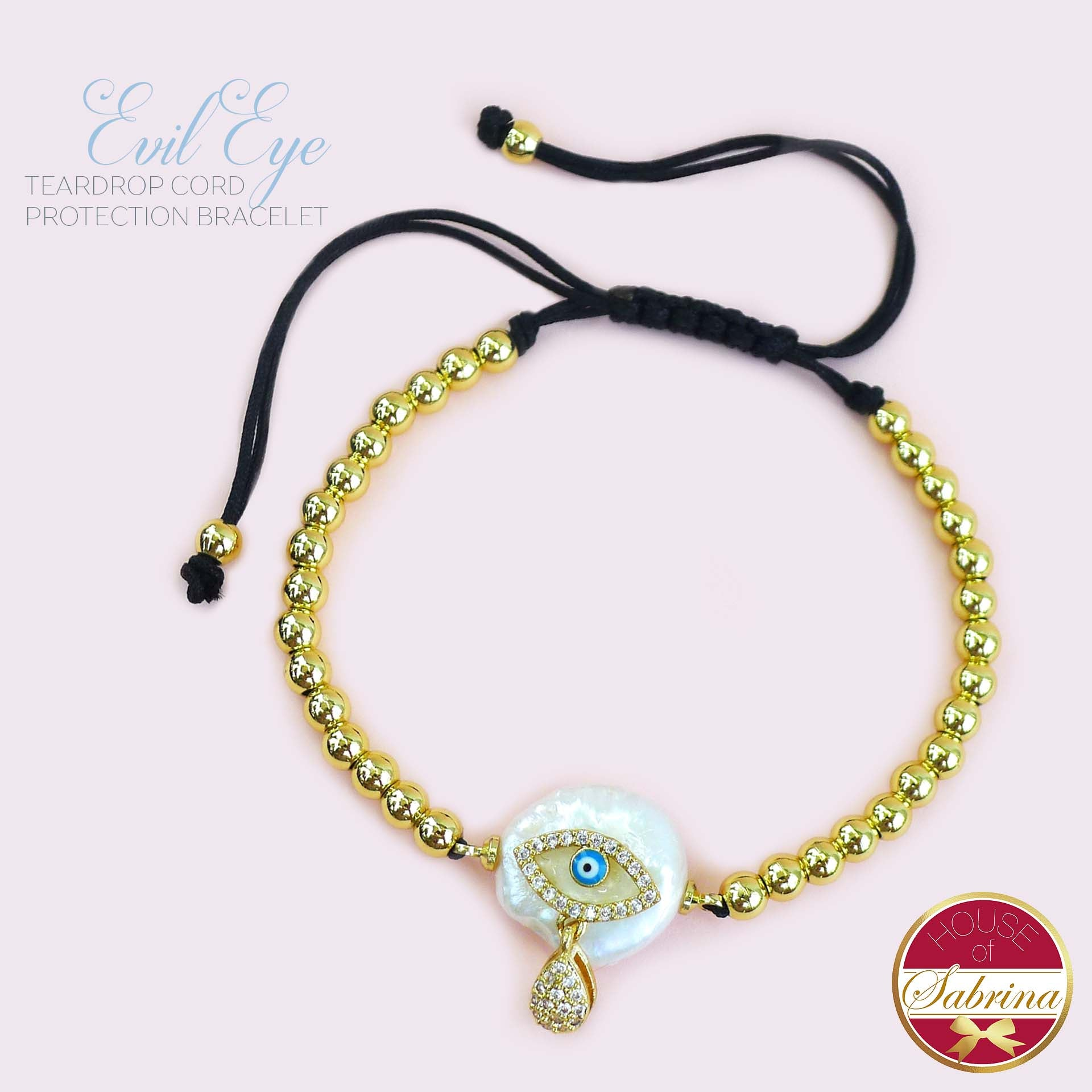 EVIL EYE TEARDROP CORD PROTECTION BRACELET